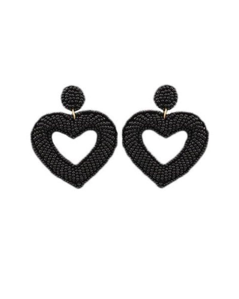 Heart Beaded Earrings In Black