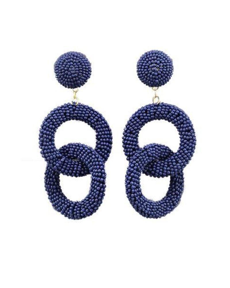 Seed Bead Circle Link Earrings In Navy