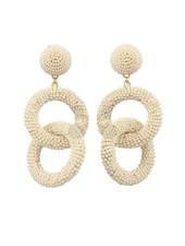 Seed Bead Circle Link Earrings In Ivory