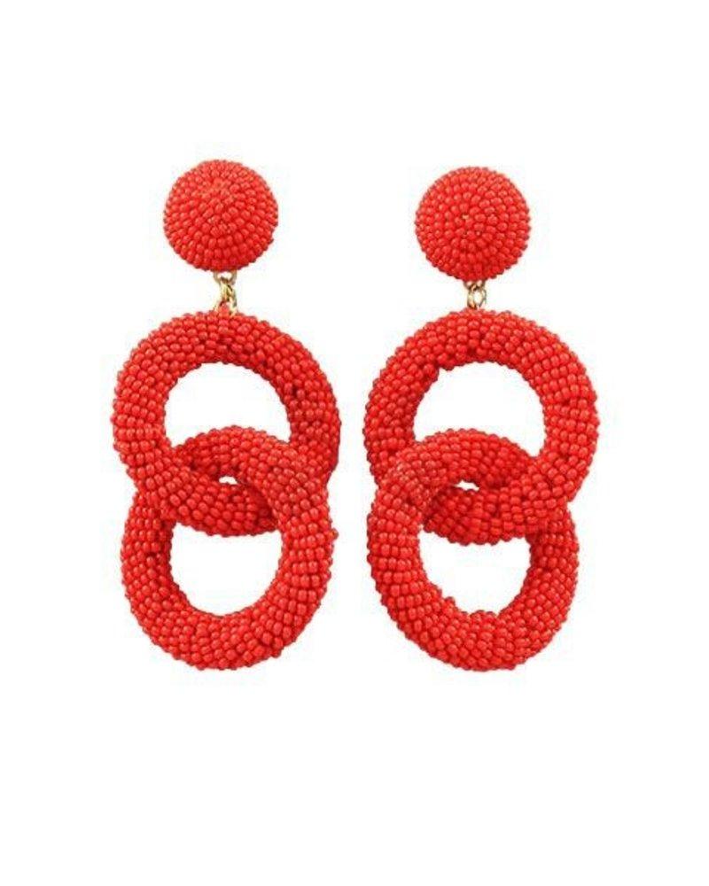 Seed Bead Circle Link Earrings In Red