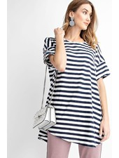 Oversized Tunic Tee In Navy