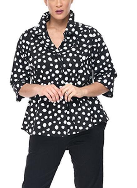 Tulip's Alice Shirt In Black Doodle Dots