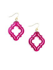 Imperial Lattice Lucite Earrings In Hot Pink