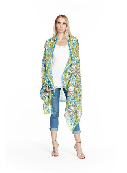 Aratta Aratta's With You Scarf In Lime & Teal