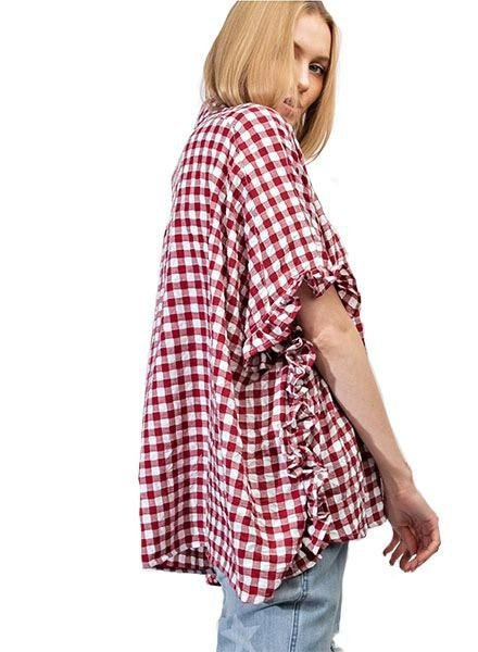 Gingham Throw On In Cranberry