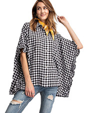 Gingham Throw On In Black