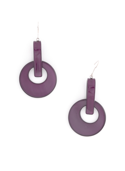 Resin Door Knocker Earrings In Plum
