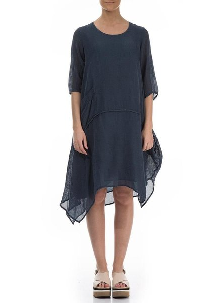 Griza's Asymmetric Breeze Tunic Dress In Denim Blue