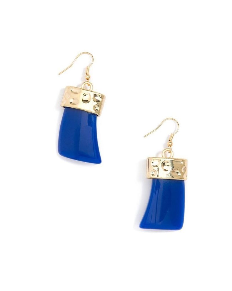 Chunky Acrylic Drop Earrings In Colbalt