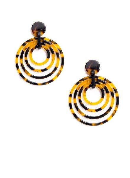 Tortoise Overlapping Circles Earrings