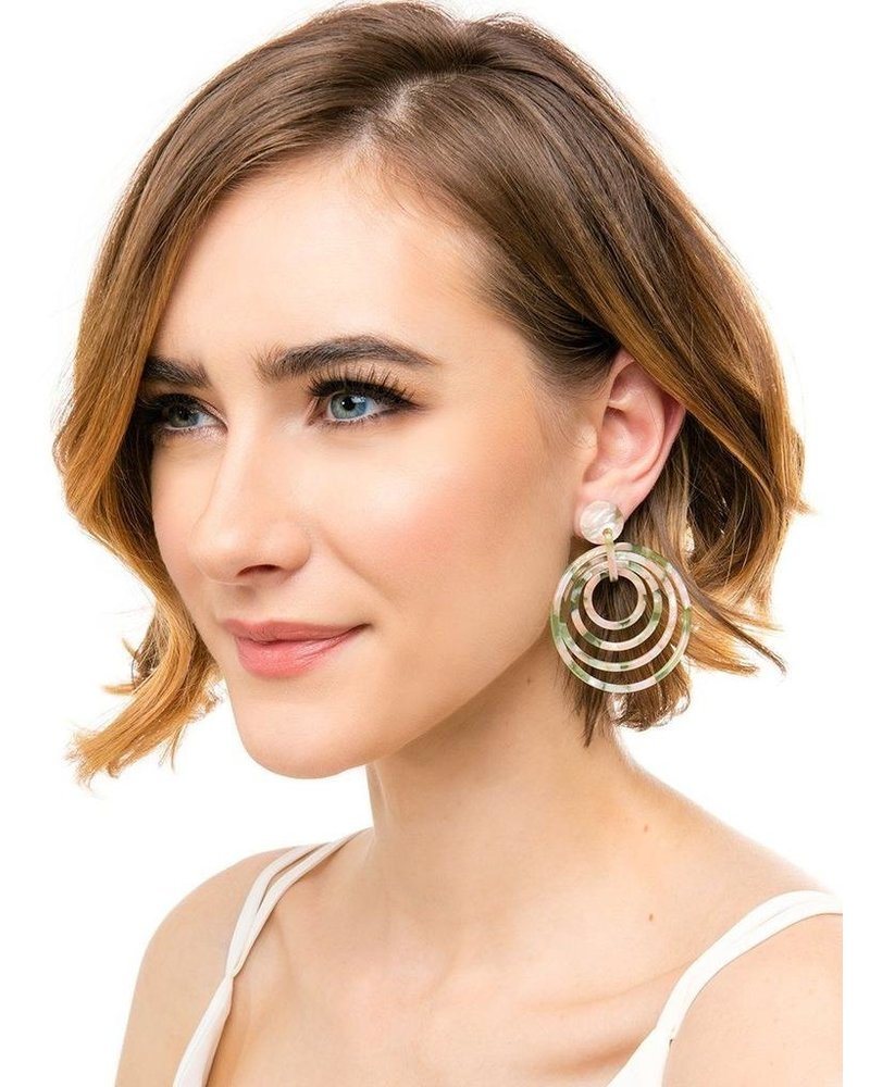 Tortoise Overlapping Circles Earrings
