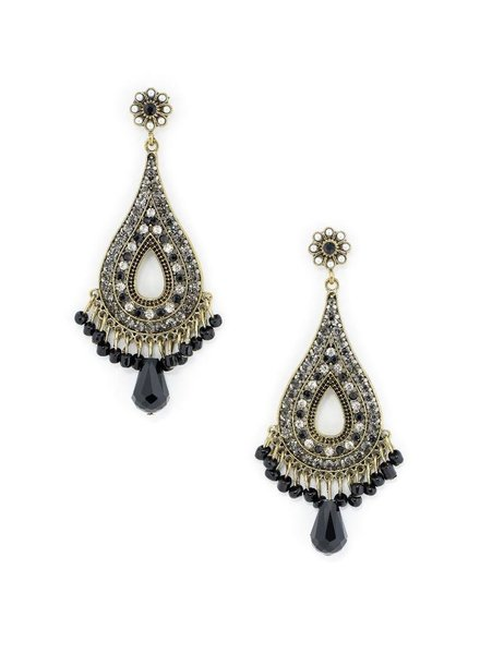 My Big Chandlier Earrings With Black Beads