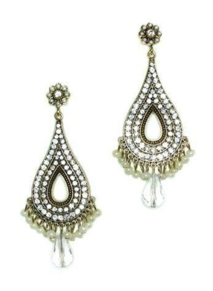 My Big Chandlier Earrings With Sage Beads