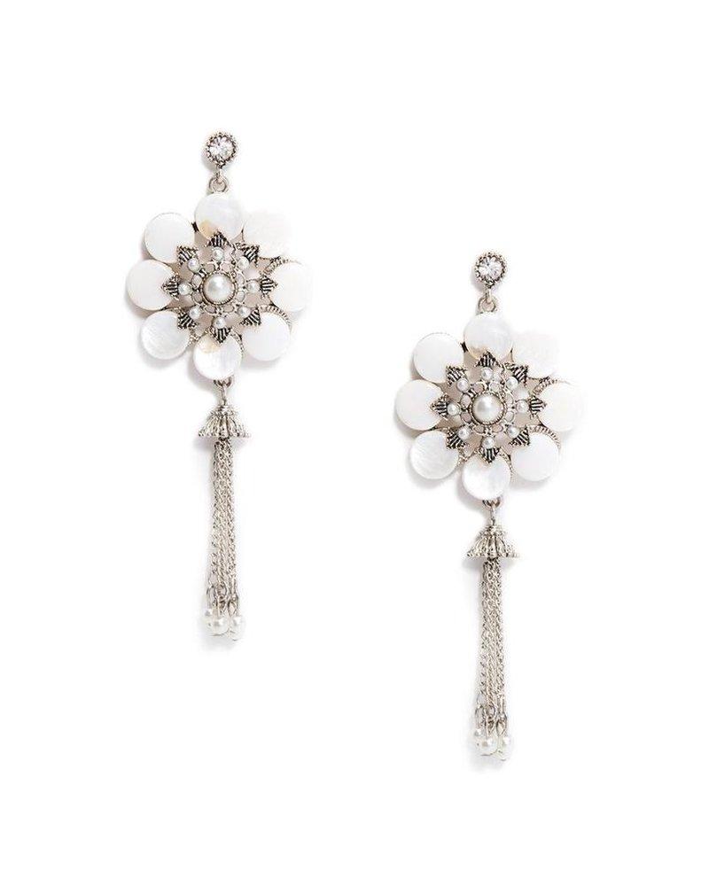 Stone Flower Fringe Earrings In White