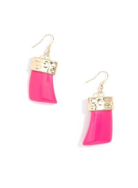 Chunky Acrylic Drop Earrings In Hot Pink