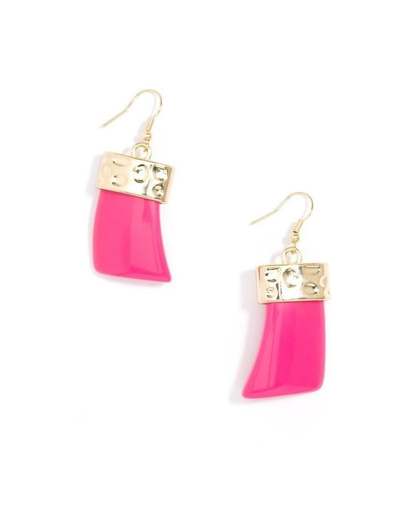 Chunky Acrylic Drop Earrings In Hot Pink