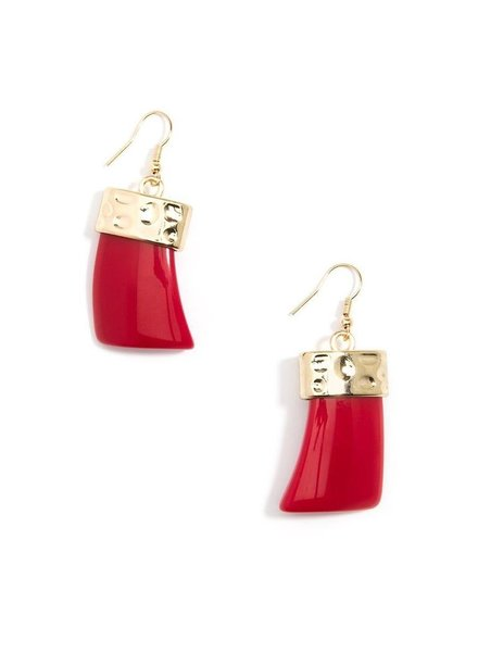 Chunky Acrylic Drop Earrings In Red
