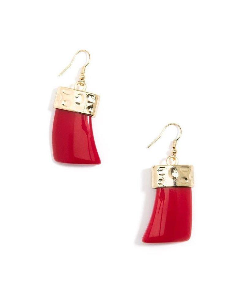 Chunky Acrylic Drop Earrings In Red