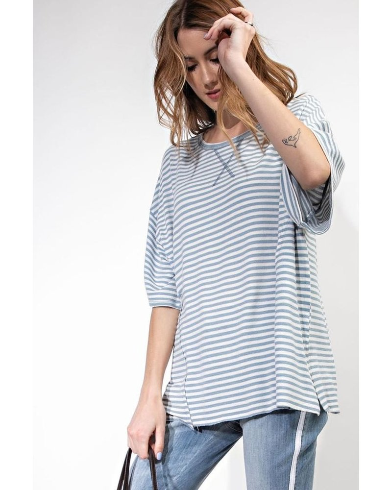 Easy Fit Striped Tee In Faded Blue