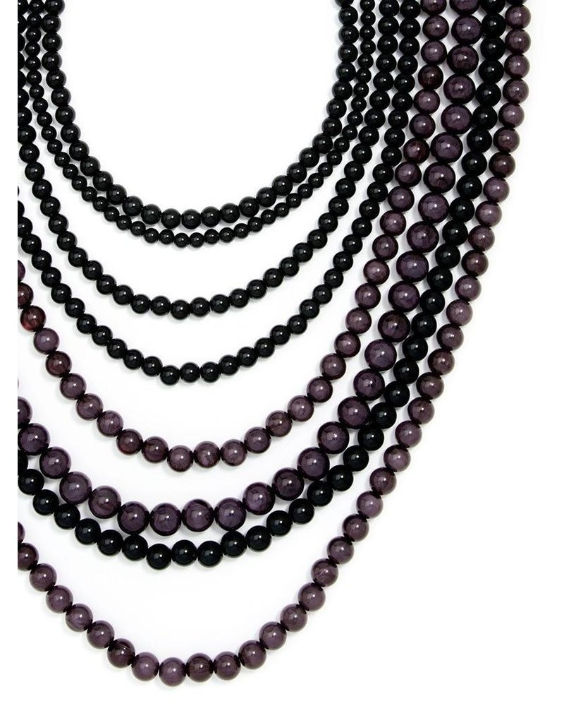 8 Strand Beaded Layer Necklace In Black