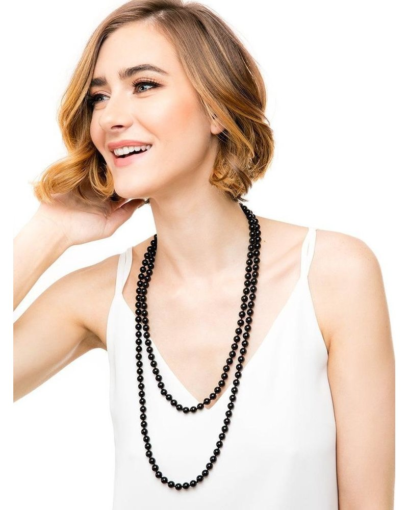 Extra Long Pearls In Black