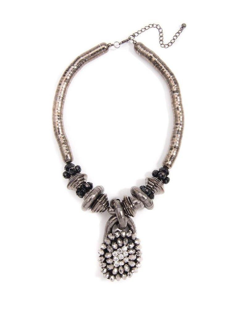 Snake Chain Pendant Statement Necklace In Hemitite