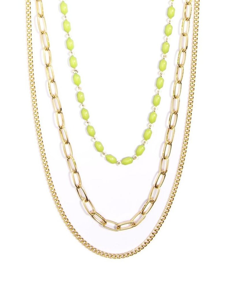 Delicate Triple Threat Necklace In Lime