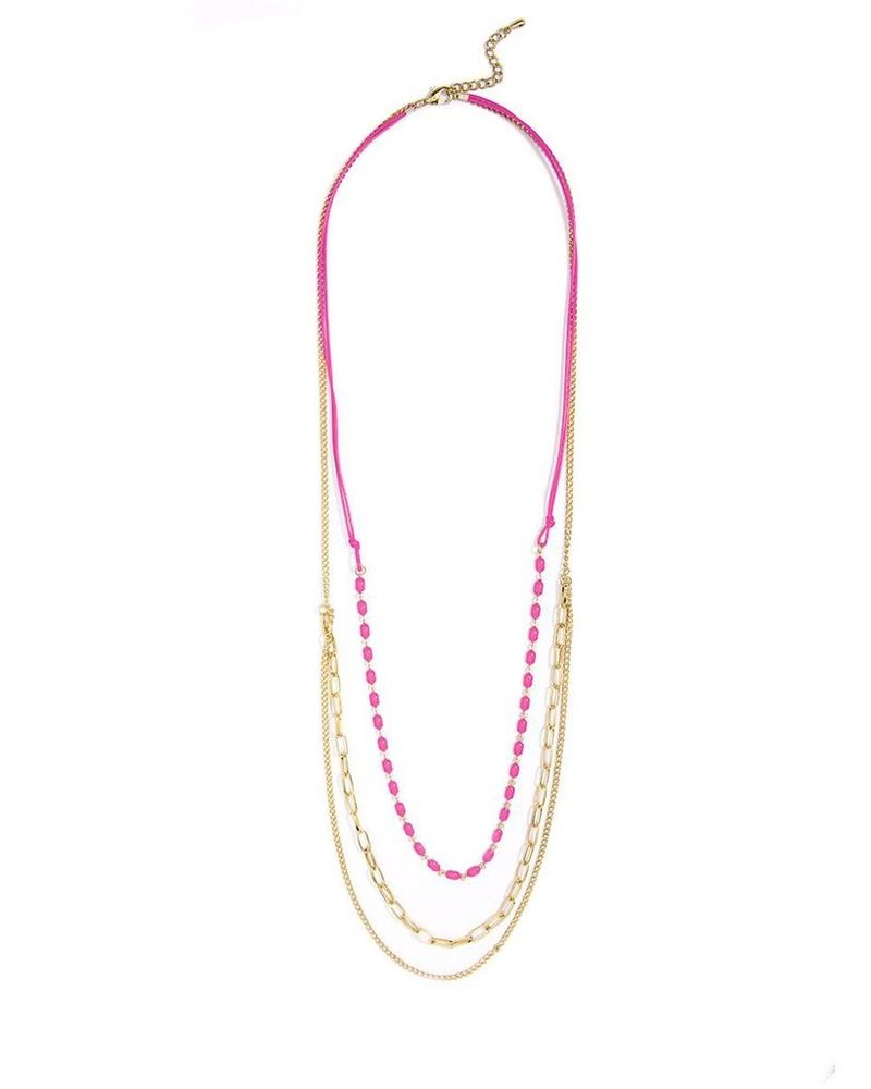 Delicate Triple Threat Necklace In Pink