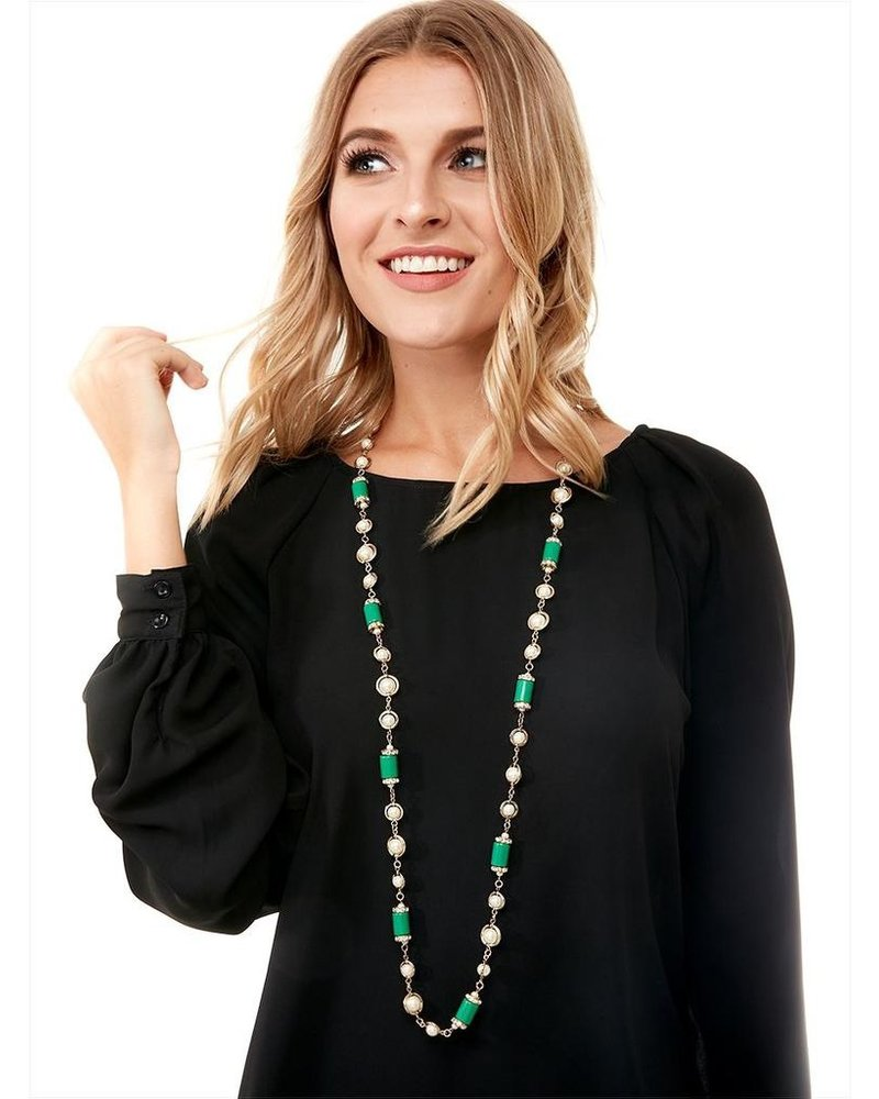 Tres Chic Tube Pearl Strand Necklace In Green