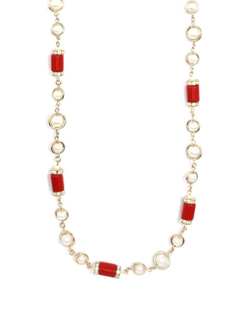Tres Chic Tube Pearl Strand Necklace In Red