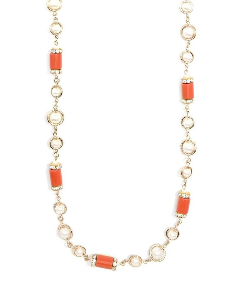 Tres Chic Tube Pearl Stread Necklace In Orange