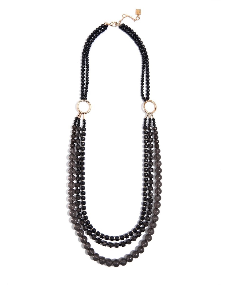 Beaded Lucite & Resin Long Necklace In Black