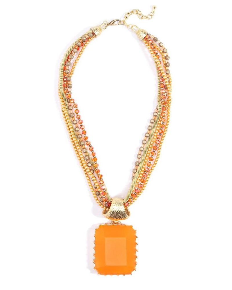 Crown Jewels Faceted Pendant Necklace In Orange