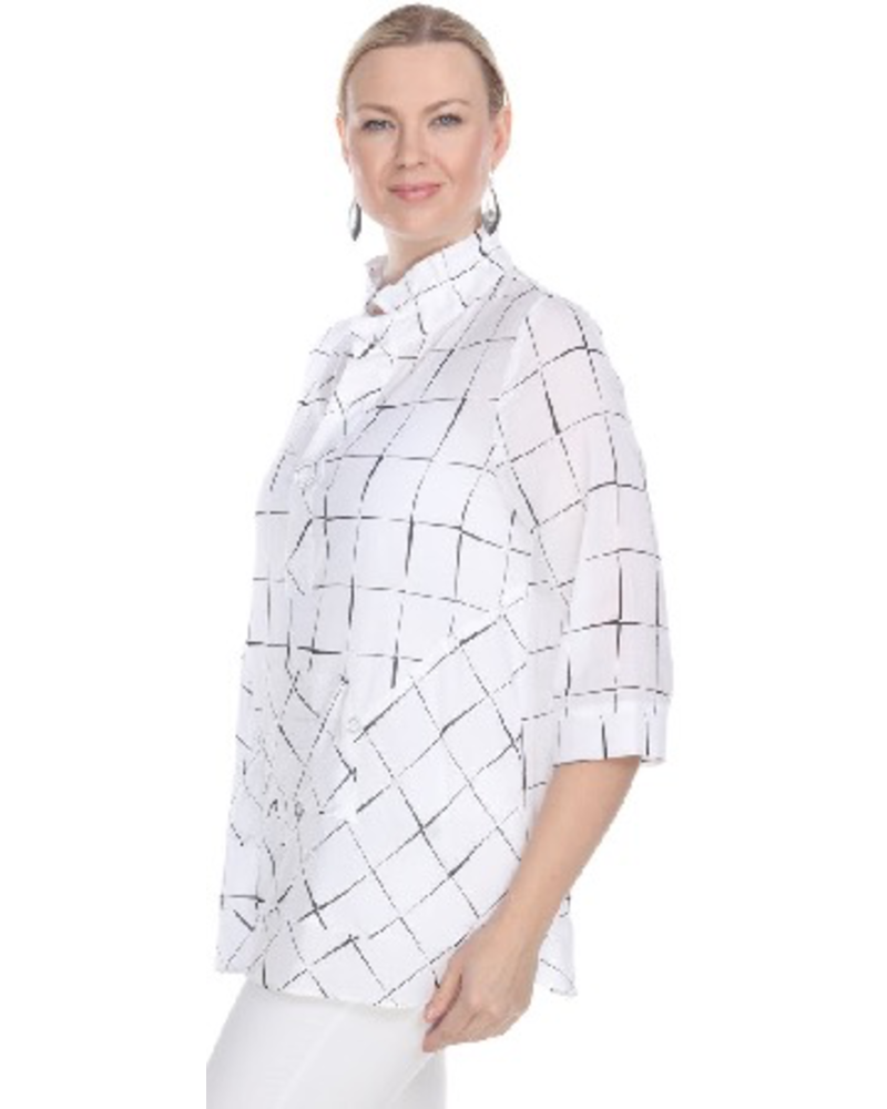 Terra's White Windowpant Pullover Tunic In White