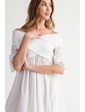 Eloise Off The Shoulder Tunic Top In Off White