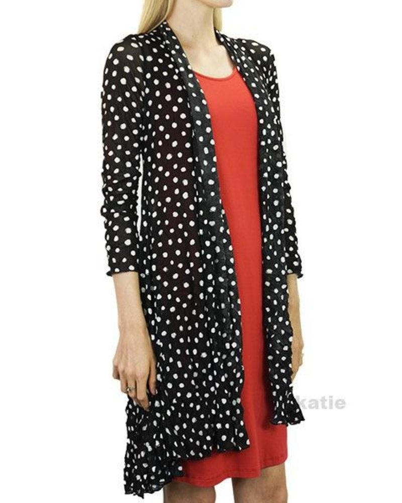 Comfy's Long Cardigan In White Dot