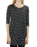 Comfy's 3/4 Sleeve Tunic Top In White Dot