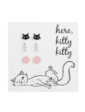 Set Of 3 Kitty Theme Tiny Earrings