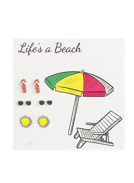 Life's A Beach Set Of 3 Tiny Theme Earrings