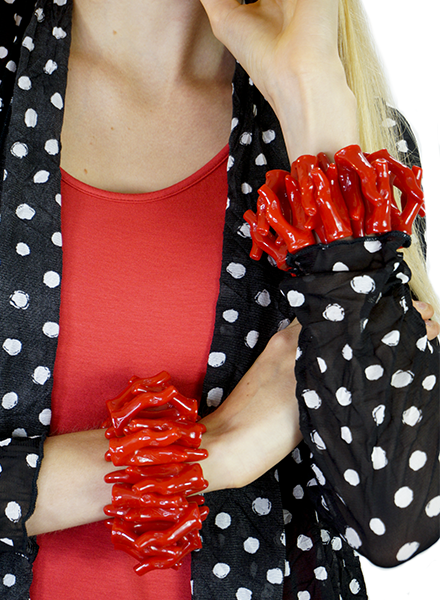 Betsy Gay Hart Red Coral Bracelet