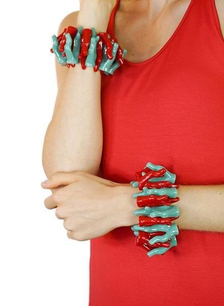 Betsy Gay Hart Mixed Coral Bracelet
