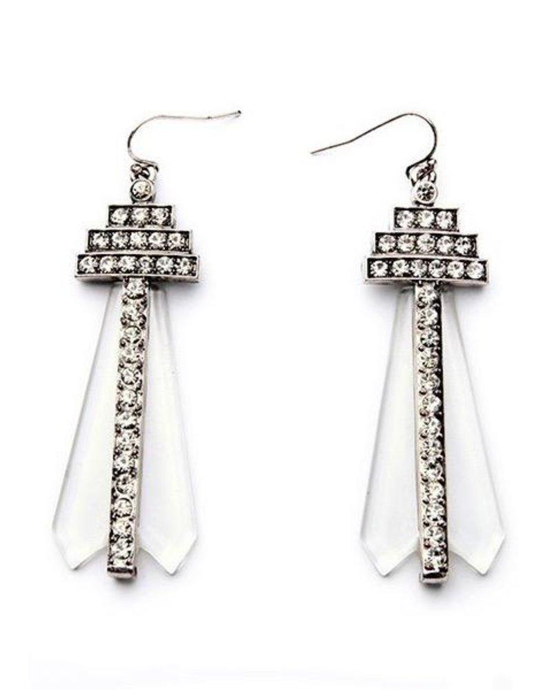 Art Deco Pave Crystal Drop Earrings