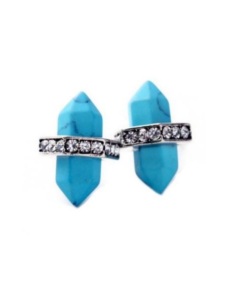Turquoise & Crystals Earrings