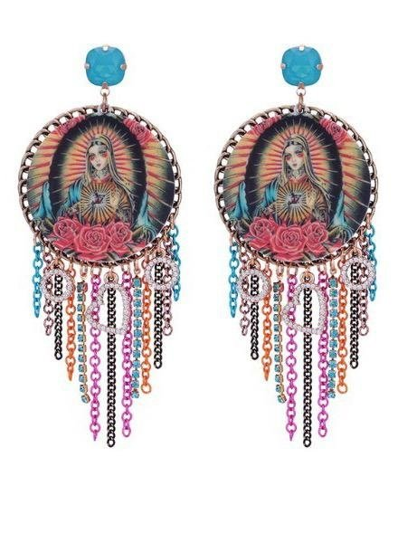 Our Lady Cameo Statement Earrings With Turquoise