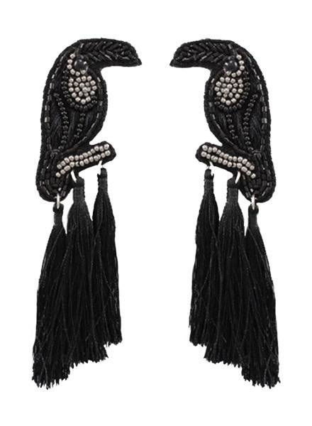 Beaded Black Bird Tassel Earrings