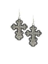 Crystal Cross Earrings In Silver