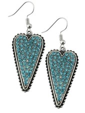 Crystal Turquoise Heart Earrings
