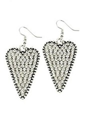 Crystal Silver Heart Earrings