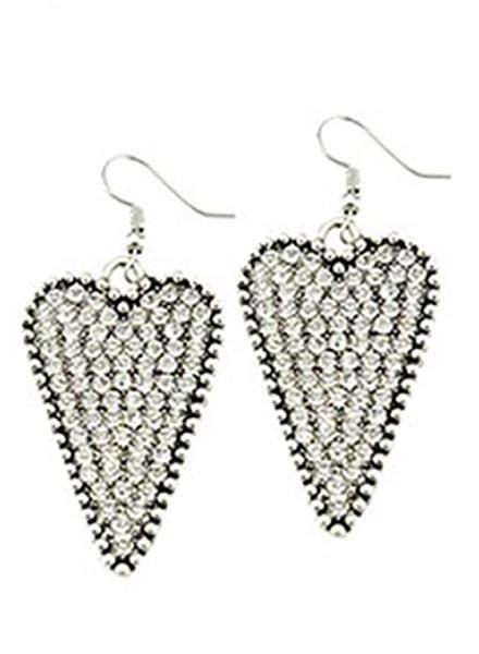 Crystal Silver Heart Earrings