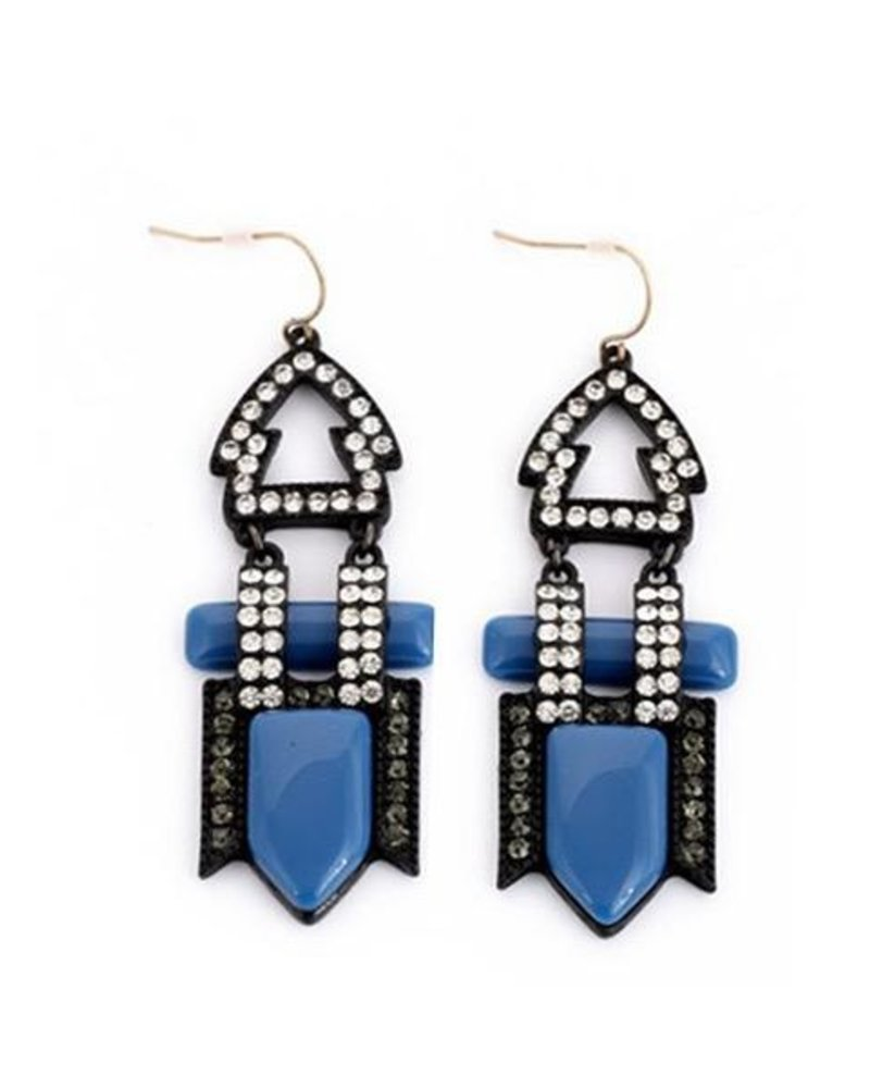 Art Deco Earrings In Black & Blue